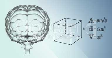 Transparent brain and black math graphics against blue background