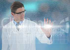 Man in lab coat and goggles with white graph and flare against blue background with bokeh