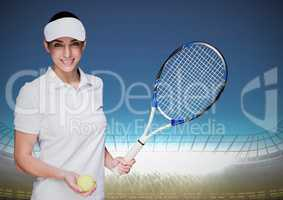 Tennis player against stadium with bright lights and blue sky