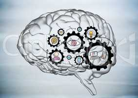 Transparent brain with black gear graphics against blurry grey wood panel