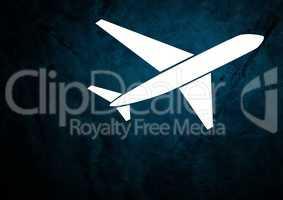 Plane icon against blue grunge background