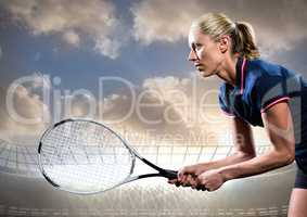 Tennis player with racket outstretched against stadium and sky with clouds