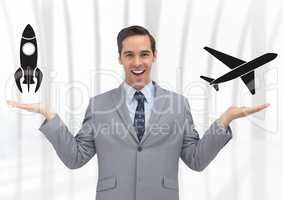 Man choosing or deciding plane or rocket with open palm hands