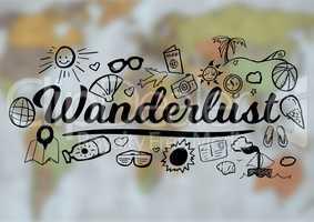 Black wanderlust doodles against blurry map