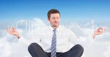 Man Meditating peaceful in clouds
