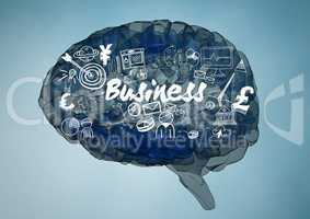 Blue brain with white business doodles against blue background