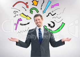 Man choosing or deciding with open palm hands and many colourful arrows around him