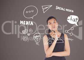 Businesswoman with social media icon drawings