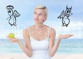 Woman choosing or deciding food good or evil with open palm hands