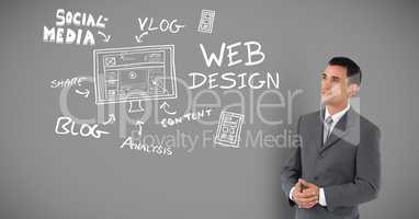 Businessman with social media and design drawings and text