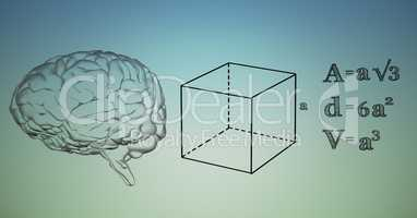Transparent brain and black math graphics against blue green background
