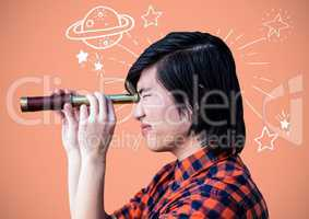 Man with telescope with planets and stars astronomy drawings graphics