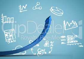 Blue arrow against white business doodles and blue background