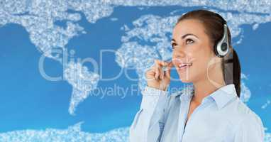 Travel agent with headset against map with clouds and blue background
