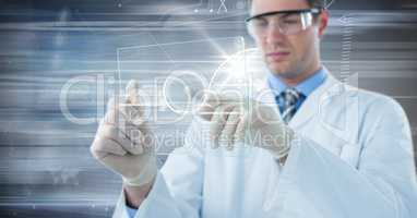 Man in lab coat and goggles with glass device and white interface against motion blur