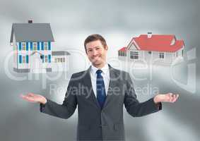 Man choosing or deciding houses with open palm hands