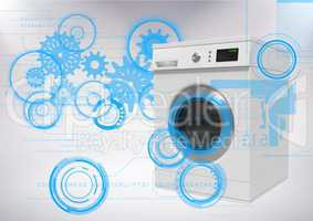 Washing machine against grey background with technology interface
