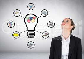 Businesswoman with bulb ideas business graphic drawings