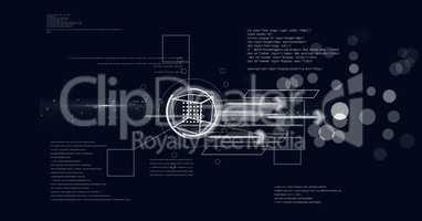 futuristic interface against blue background