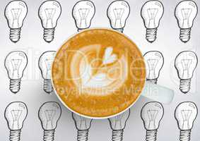 Coffee cup against white background with lightbulbs