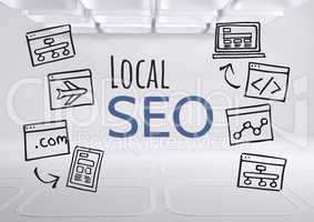 Local SEO text with drawings graphics