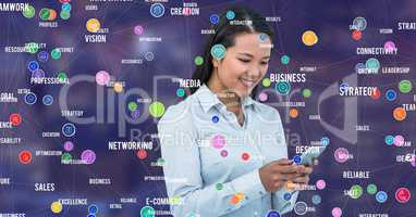Businesswoman with phone against Night city with connectors