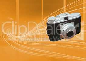 3D Camera against orange curves background