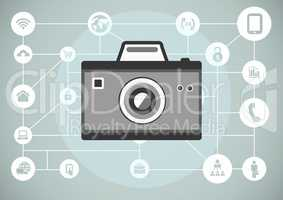 grey camera illustration icon with circular business icons