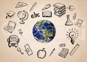 World with educatoin icon drawings agaisnt beige background