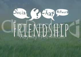 Friendship social media text with drawings graphics