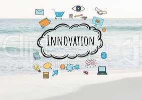 Innovation text with drawings graphics