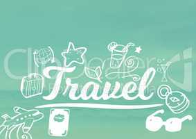 Travel text with drawings graphics