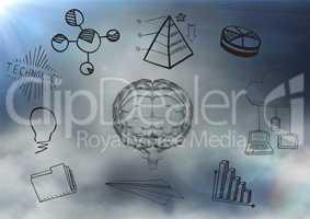 Transparent brain with black business doodles against cloudy sky