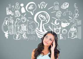 Woman with idea brainstorm and Business graphics drawings