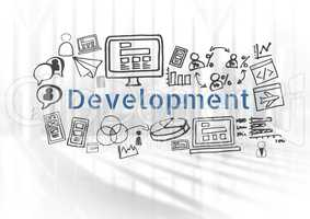 Development text with drawings graphics