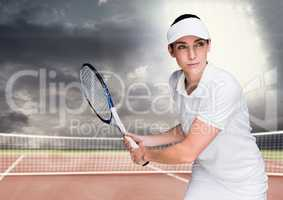 Tennis player on court with bright light and dark clouds