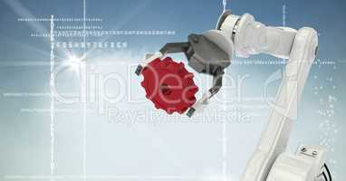 White robot claw red cog against white interface, cloud, flare and blue background