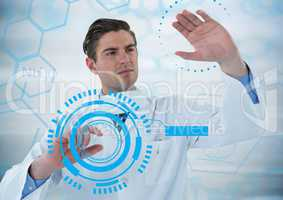 Man in lab touching blue interfaces against blue medical interface and grey background