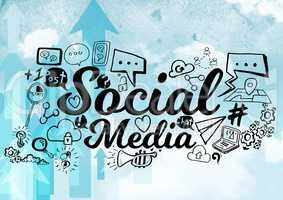Blue arrows with black social media doodles against sky