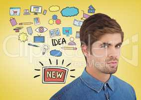 Man with creative design graphics drawings