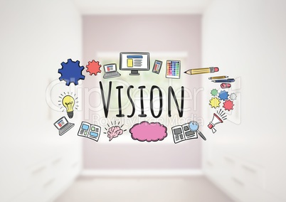 Vision text with drawings graphics