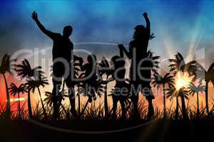 Silhouettes of jumping family  with suitcase against sunset view with palm trees