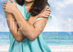 Sad woman grief against beach sea
