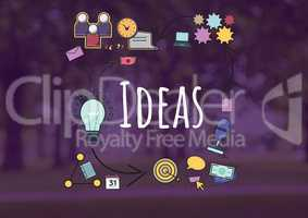 Ideas text with drawings graphics
