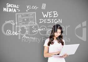 Woman with social media and design drawings and text