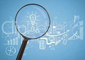 Magnifying glass against blue background with idea bulb and business graphic drawings