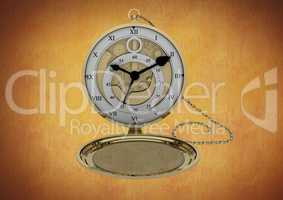 Pocket watch against brown background