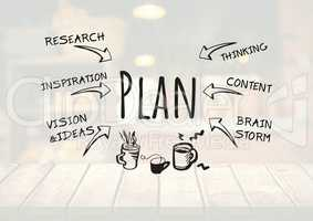 Plan text with drawings graphics