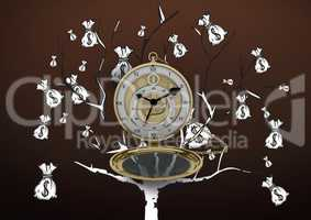 Pocket watch against Money tree on brown background