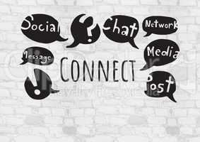 Connect text with social media drawings graphics